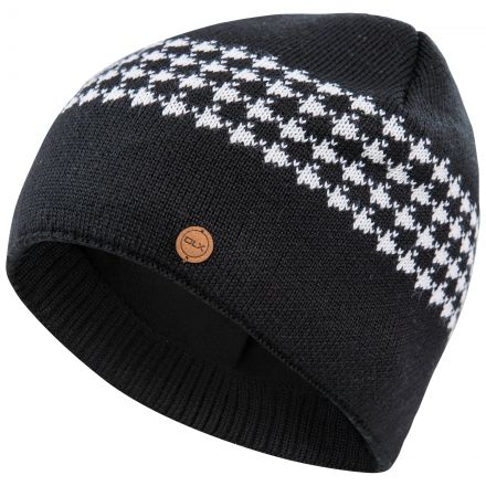 Capaldi Men's DLX Fleece Lined Beanie Hat in Black, Hat at angled view
