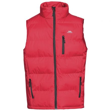 Clasp Men's Padded Gilet in Red, Front view on mannequin
