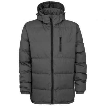 Clip Men's Hooded Padded Casual Jacket in Grey, Front view on mannequin