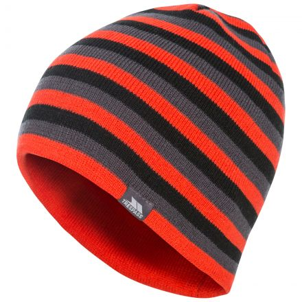 Trespass Adults Beanie Hat Striped Lightweight Coaker Red, Hat at angled view