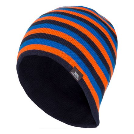 Trespass Adults Beanie Hat Striped Lightweight Coaker Navy, Hat at angled view