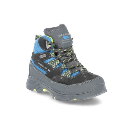 Cumberbatch Kids' Walking Boots in Blue, Angled view of footwear