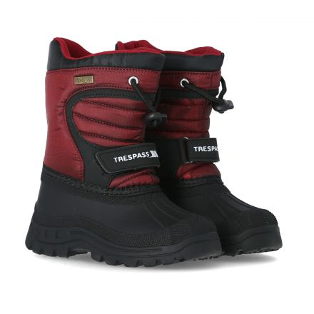 Trespass Kids Snow Boots Water Resistant Fleece Lined Dodo Red, Pair of footwear