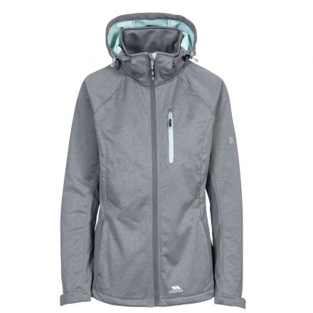 Trespass Womens Softshell Jacket with Hood Drea in Grey, Front view on mannequin