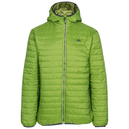 Dunbar Men's Hooded Lightweight Jacket in Green, Front view on mannequin