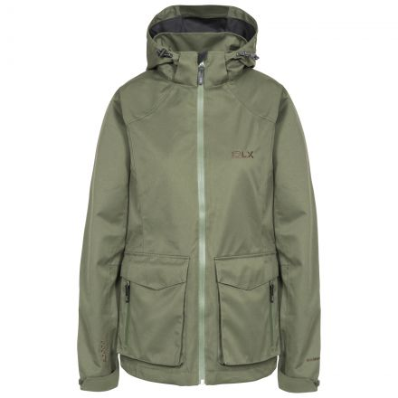 DLX Womens Waterproof Jacket with Hood Emeson in Khaki, Front view on mannequin