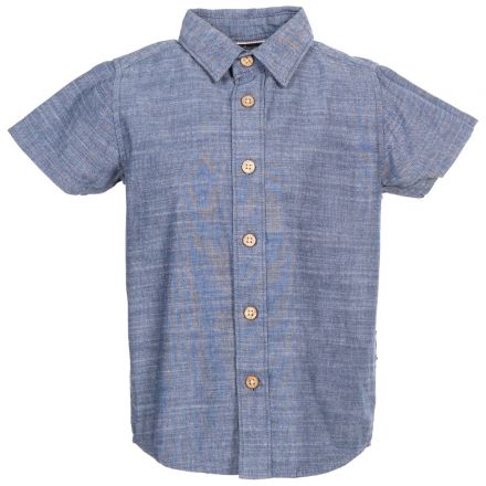 Exempt Kids' Short Sleeve Shirt in Navy, Front view on mannequin