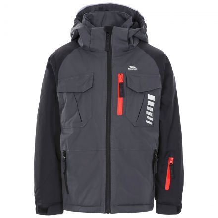 Freebored Kids' Ski Jacket in Grey, Front view on mannequin