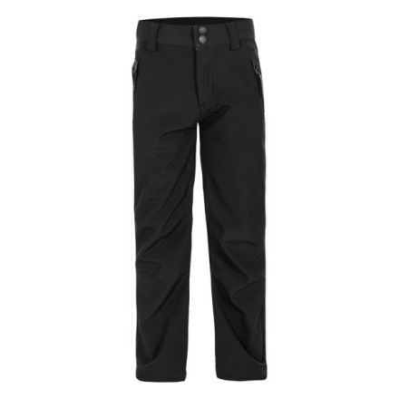 Galloway Kids' Softshell Walking Trousers in Black, Front view on mannequin