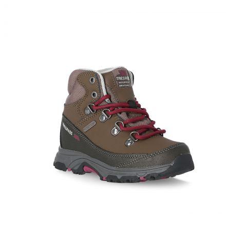 Glebe II Kids' Walking Boots in Brown, Angled view of footwear