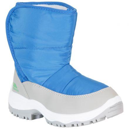 Trespass Kids Snow Boots Fleece Lined Water Resistant Hayden Blue, Angled view of footwear