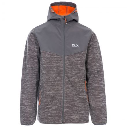 Hendricks Men's DLX Softshell Active Jacket in Grey, Front view on mannequin