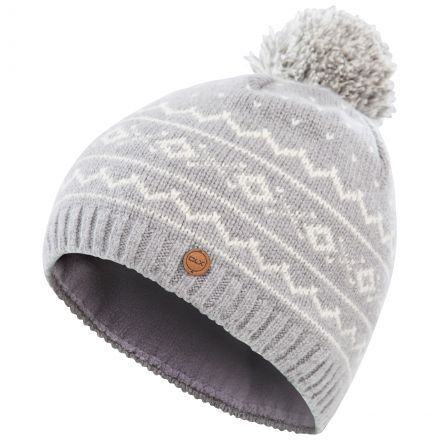 Holbray Adults' DLX Knitted Bobble Hat in Grey, Hat at angled view