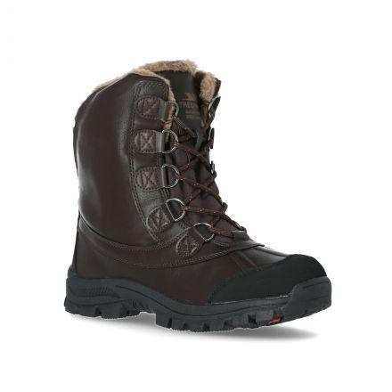 Kareem Men's Snow Boots in Brown, Angled view of footwear