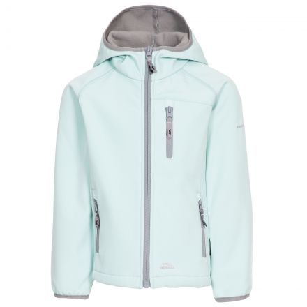 Kian Kids' Softshell Jacket in Light Green, Front view on mannequin