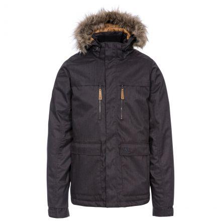 King Peak Men's Insulated Waterproof Windproof Jacket in Grey, Back view on model
