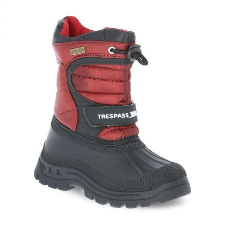 Kukun Kids' Waterproof Snow Boots in Red, Angled view of footwear