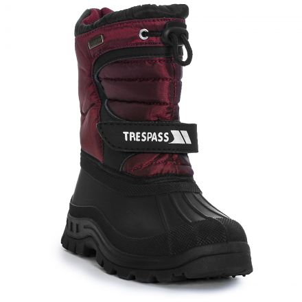 Kukun Youths' Waterproof Snow Boots in Red