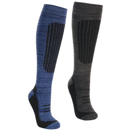 Langdon II Men's Technical Ski Socks in Navy Carbon Melange - 2 Pack