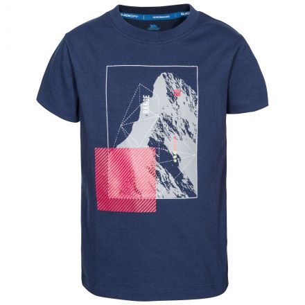Lowie Kids' Printed T-Shirt in Navy, Front view on mannequin