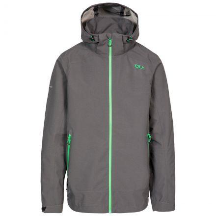 Lozano Men's DLX Waterproof Jacket in Grey, Front view on mannequin