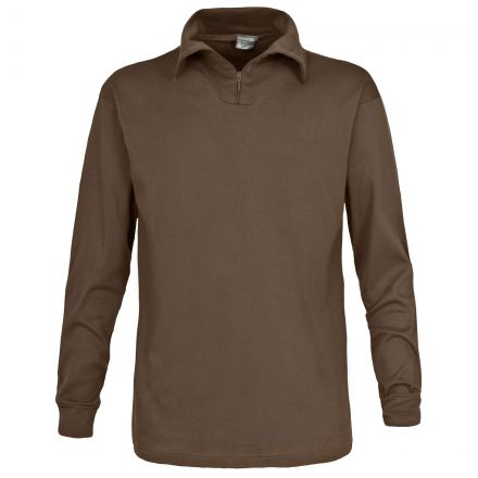 Dolomite Mens Long Sleeve Cotton Jersey Ski Polo Top in Brown
