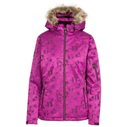 Trespass Women Ski Jacket Hooded Merrion in Purple, Front view on mannequin