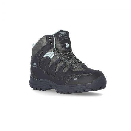 Mitzi Women's Waterproof Walking Boots in Grey, Angled view of footwear