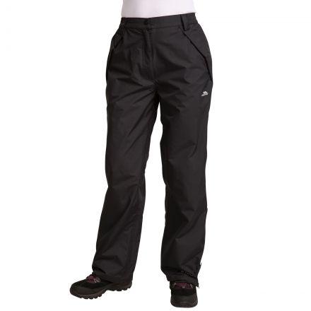 Miyake Women's Waterproof Walking Trousers in Black, Front view on model