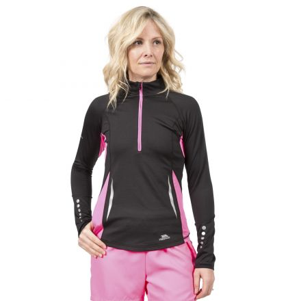 Persin Women's 1/2 Zip Quick Dry Long Sleeve Active Top in Black