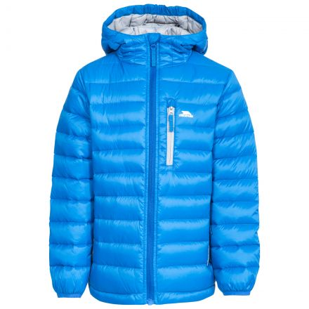 Morley Kids' Down Jacket in Blue, Front view on mannequin