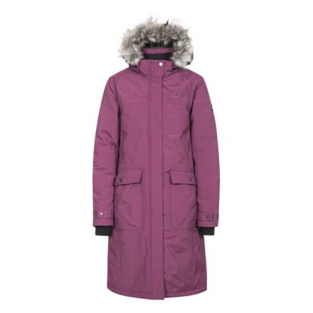 DLX Womens Down Jacket Waterproof Munros Blackberry, Front view on mannequin