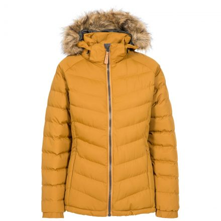 Trespass Womens Padded Jacket Hooded Nadina Yellow, Front view on mannequin