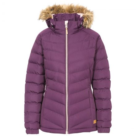 Trespass Womens Padded Jacket Hooded Nadina Purple, Front view on mannequin