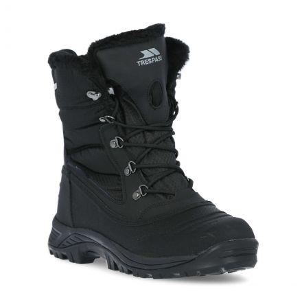 Negev II Men's Fleece Lined Snow Boots in Black, Front view of footwear