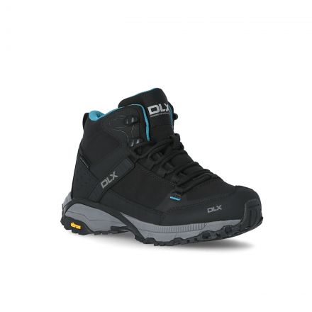 Nomad Women's DLX Vibram Walking Boots in Black, Angled view of footwear