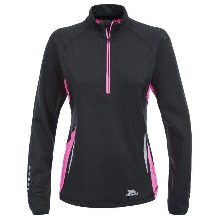 Persin Women's 1/2 Zip Quick Dry Long Sleeve Active Top in Black