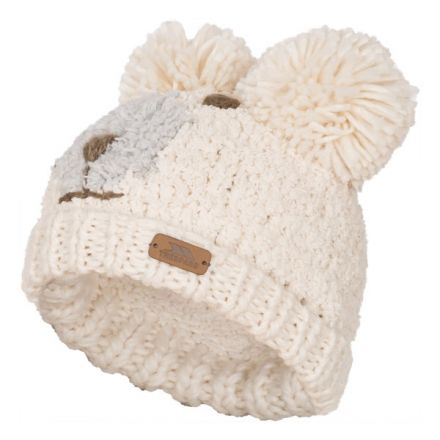 Polar Bear Kids' Novelty Bobble Hat in White, Hat at angled view