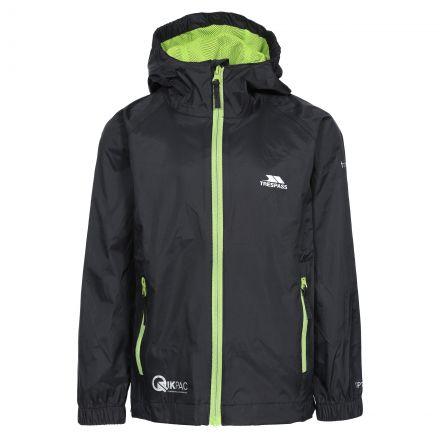 Qikpac Kids' Waterproof Packaway Jacket in Black, Front view on mannequin