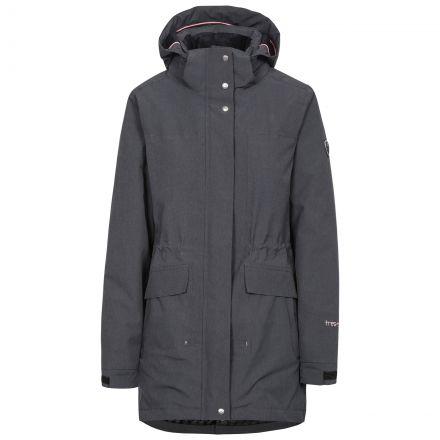 Trespass Womens Waterproof Parka Jacket Fleece Lined Reveal Black, Front view on mannequin