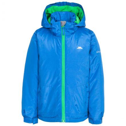 Rudi Boys' Waterproof Jacket in Blue, Front view on mannequin