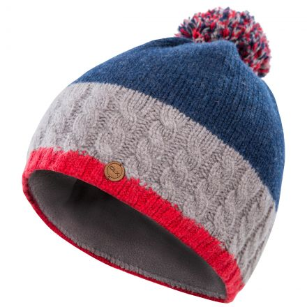 Sheeran Adults' DLX Knitted Bobble Hat in Navy, Hat at angled view