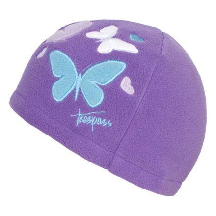 Trespass Kids Fleece Beanie Hat in Light Purple Flooty