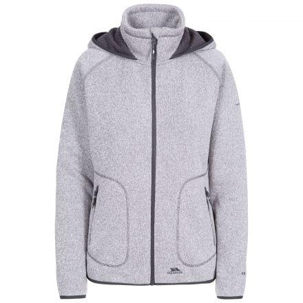 Splendor Women's Hooded Fleece Jacket in Grey, Front view on mannequin