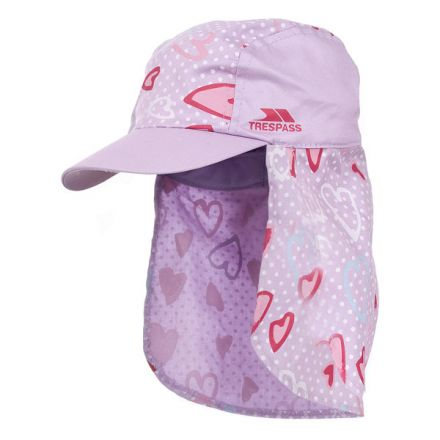 Sugar Puff Kids' Neck Protecting Sun Hat in Pink, Hat at angled view