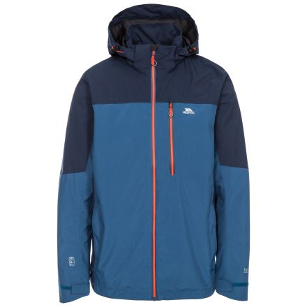 Tappin Men's Waterproof Jacket in Blue, Front view on mannequin