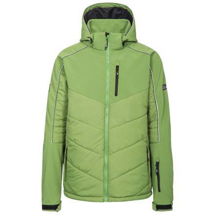 Taran Men's Comfort Stretch Windproof Ski Jacket in Green, Front view on mannequin