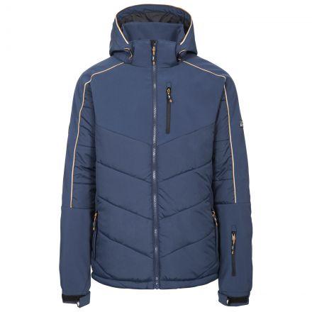 Taran Men's Comfort Stretch Windproof Ski Jacket in Navy, Front view on mannequin