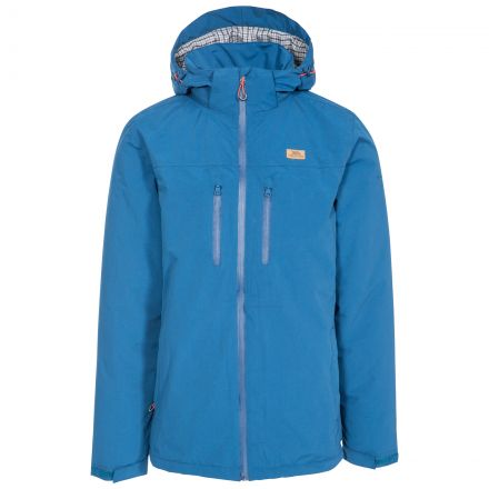 Toffit Men's Hooded Waterproof Jacket in Blue, Front view on mannequin