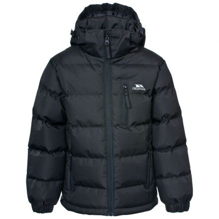 Tuff Boys' Padded Casual Jacket in Black, Front view on mannequin